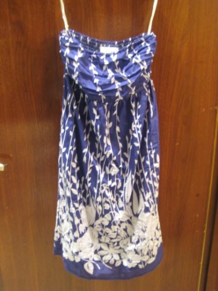 Navy cotton/silk dress, $110