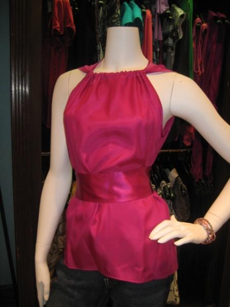 Magenta silk top with sash, $185