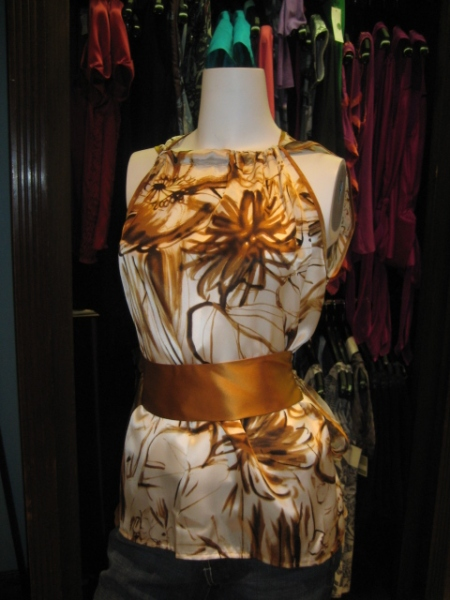 Gold print top with sash, $195