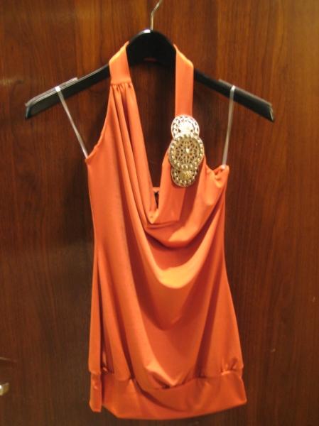 Orange cowl neck top, $49