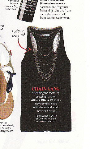 In Style featured this $198 embellished tank with chains.  See our $49 version below!