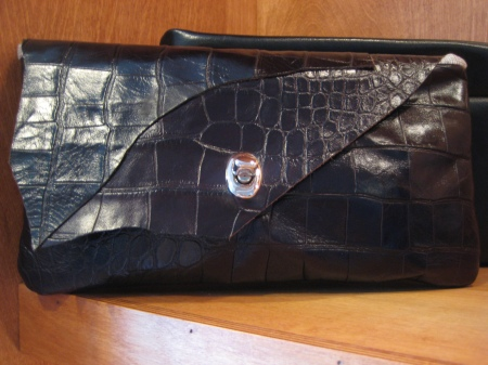 Adrienne leather clutch, $78