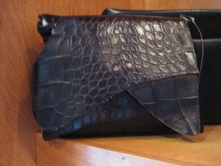 Adrienne leather clutch, $68