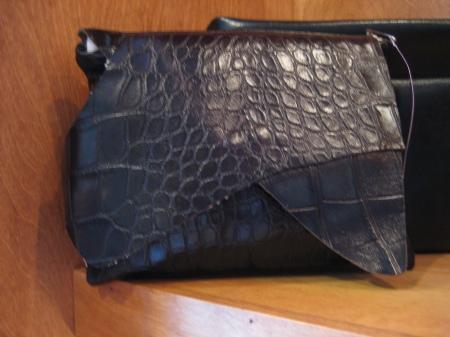 Adrienne leather clutch, $68