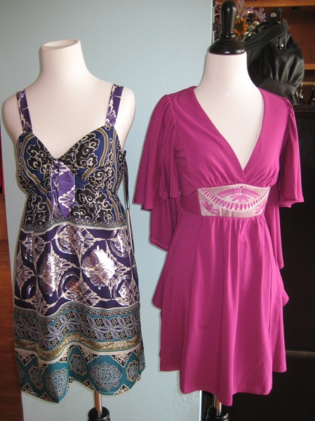 (L) Hale Bob dress in a great indian print woven with silver threads!  This exotic dress is $220 and would be perfect for a fall wedding.  (R) Magenta knit tunic from Vava by Joy Han, with embroidered accents.  Adorable over skinny jeans or leggings!  $110.