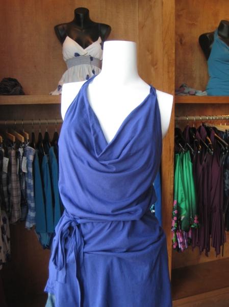 Belted top in cobalt blue, $69