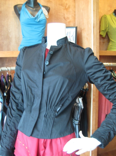 Shirred black jacket from Miss Me Couture, $110.  This piece has great detailing and is perfect going into fall!
