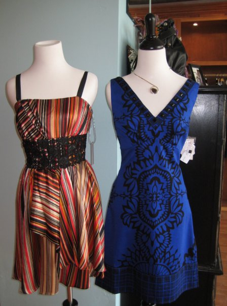 Silk striped dress with black crochet, $240.  The blue dress on the right is from the Hale Bob delivery we got last week, also very cute!
