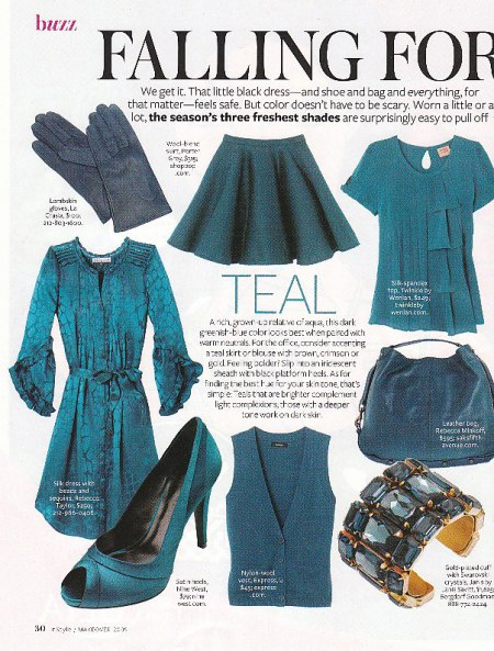 "Teal is the ""it"" color for fall!  Photo: Instyle"