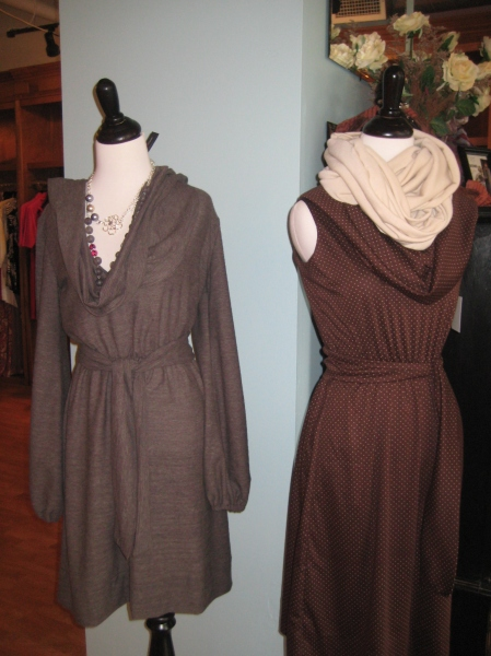 L: Belted Folklore dress with hood....SO cozy/comfortable! Picture it paired with ribbed leggings and boots. $130. R: Belted Boho dress in brown polkadot, very Pretty Woman! $140.  Ivory tube scarf by Amanda Christine, $48.