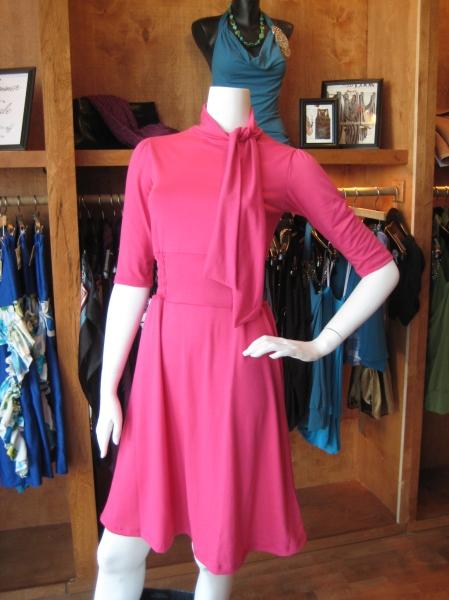 Fuschia knit dress w/smocked waist and neck tie, $110