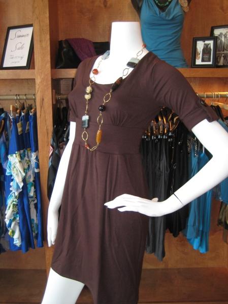 Chocolate brown tube dress w/sleeve tabs, $110