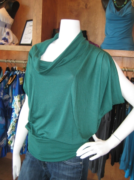Green ribbed cowl neck top with dolman sleeves, $72.