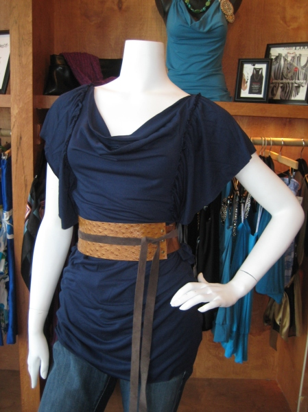 Navy ruffled sleeve tunic or mini dress, $99.  Paired with Adrienne Grahn belt.