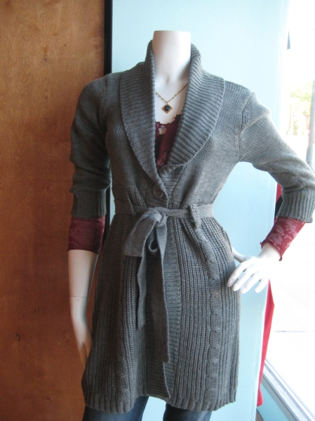 Gray belted cardigan sweater, $60.  Layered over a printed red Testament top, $88.
