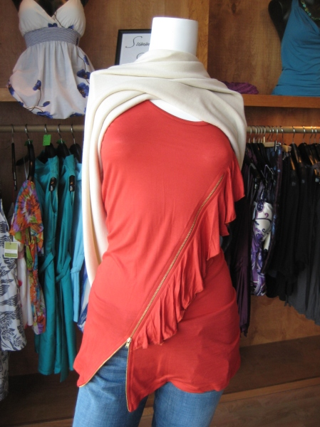 Papaya (HOT color for fall!) knit top with ruffle and zipper embellishment, $49.  Also available in gray.