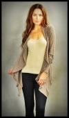 Knit wrap available in grey or oatmeal, $65