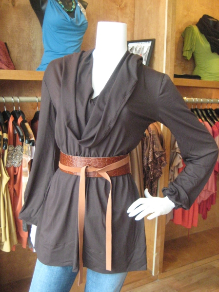 This hooded tunic is made of a very comfortable/stretchy chocolate fabric and looks great belted with this leather belt by Adrienne.  Top, $120.  Belt, $68.