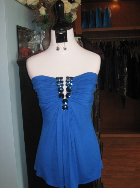 Sky tube top with blue jewels, very flattering!  $125.  Paired with blue m.bridget designs earrings.
