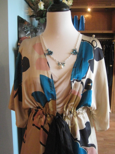 Silk print kimono jacket, so beautiful!  $115 from Nelli.  Paired with an ivory top from Nu Collective and necklace by Vanessa Dembo.