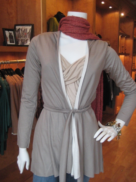 Get more for your money with this REVERSIBLE Bella Matto wrap with belt, $99.  Very flattering!
