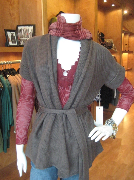 UBER-soft sweater by Shae in a gorgeous Heather brown.  Great layering piece and goes with everything!  $115.