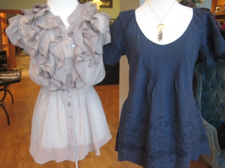 Mocha ruffle top, a huge hit!  $49.  Trying to order it in other colors as well.  Navy peasant top, $49.