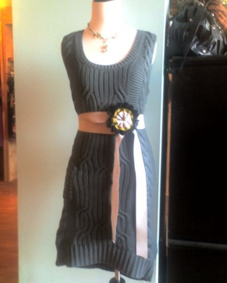 Sweater Dress, $115.  Nelle bud belt, $66.  Camba necklace, $90.
